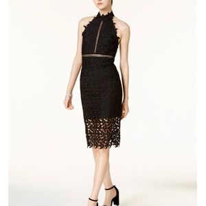 BARDOT GEMMA LACE SHEAH MIDI DRESS BLACK Crochet